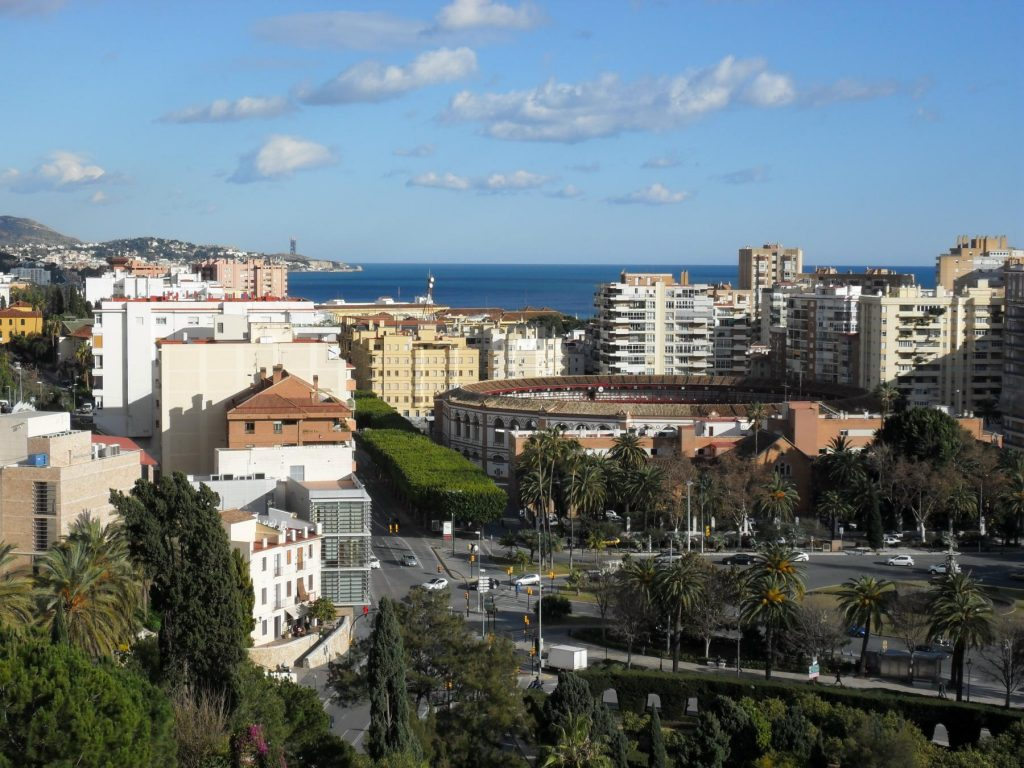 Blick von der Alcazaba in Málaga in Andalusien
