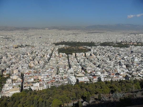 Blick auf Athen vom Lykavittos