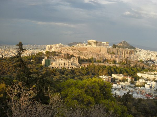 Blick auf Akropolis und Athen vom Philopappos