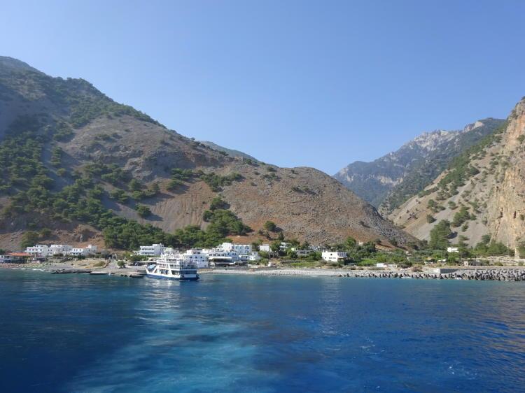 Blick auf Agia Roumeli von der Fähre