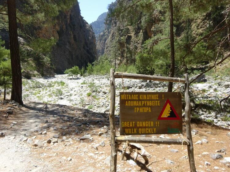 Warnschild Samaria-Schlucht